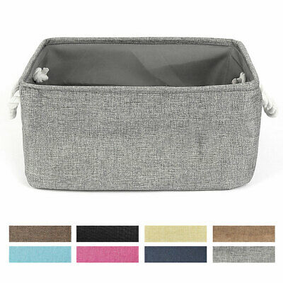 Fabric Storage Bin Basket with Rope Handles for Laundry Clothes Toy Organizer