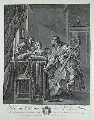Jacob A Duck (1600-1667) - Large Folio - Three Musicians, cello - 1792