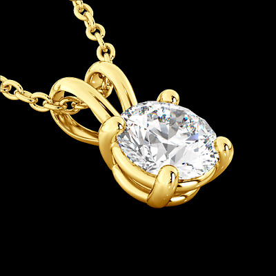 2Ct Round Solitaire Diamond Pendant Charm SOLID 14k Yellow Gold Fn Women Jewelry