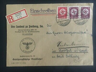1942 Freiberg Germany commisioner Official Registered cover to Augsburg