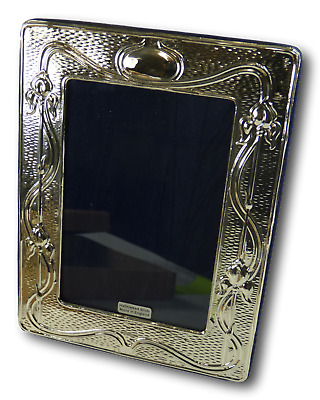 "New Sterling Silver Art Nouveau LILLIES Photo / Picture Frame - 5 1/2"" x 3 1/2"""