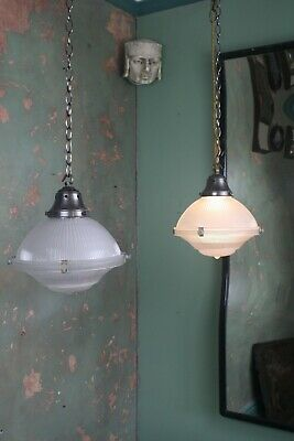Pair of Small Holophane Lanterns Antique Lights Pendants Industrial Salvage