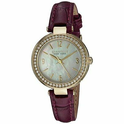 Bulova Women's Quartz Stainless Steel and Leather Casual Watch, Purple, 44L176