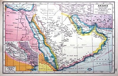 Vintage Antique Original 1920 Print Map Of Arabia & Lower Mesopotamia