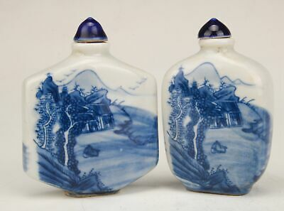 2 Special Chinese Porcelain Handpainted Landscape Snuff Bottle Collection Gift