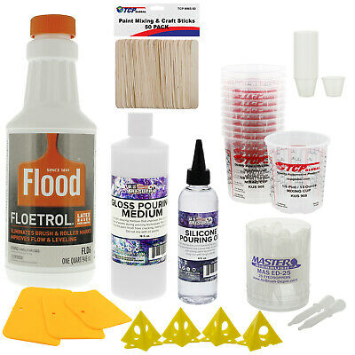 1 Quart Floetrol Pouring Supply Paint Medium Deluxe Kit Mixing Stain Epoxy Resin