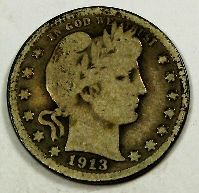 1913 United States Barber Head Quarter - G Good Condition
