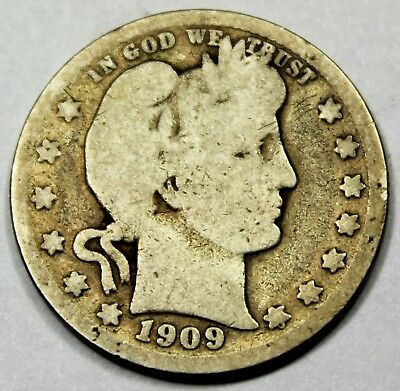 1909-D United States Barber Head Quarter - G Good Condition