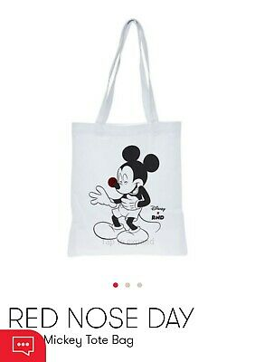 New Disney Mickey Mouse White Cotton Tote Bag (Comic Relief Red Nose Day 2019).