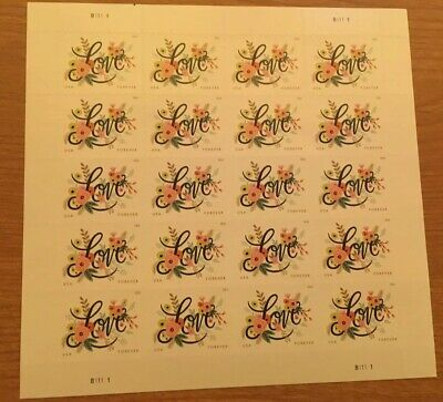 #5255 Love Flourishes- US Forever Stamps 2018 Issue - MNH Sheet of 20 Wedding