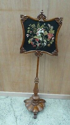 Antique Victorian Tapestry Needle Work Pole Fire Screen  Carved Base & Frame