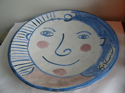 Large Signed Hand Painted Mid Century Australian Charger Plate Vintage S.