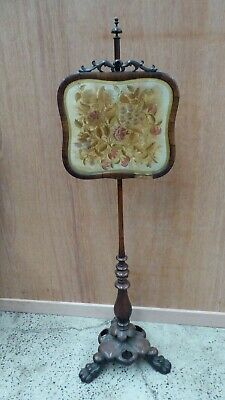 Antique Victorian Tapestry Needle Work Pole Fire Screen Rosewood Carved Base