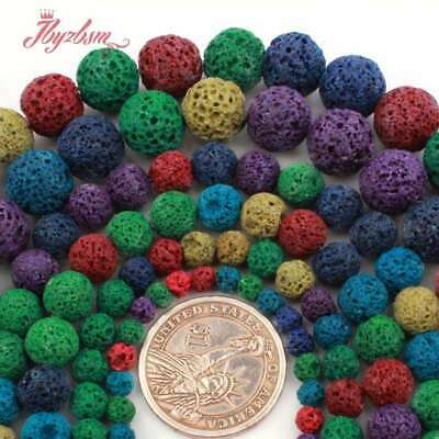 "Round Spone Mixed Color Lava Rock Volcanic Stone Beads For Jewelry Making 15""DIY"