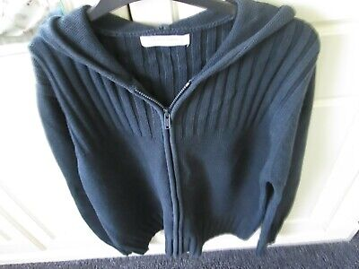 White Company Navy Zip Front Hooded Jumper Xl