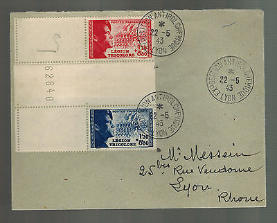 1943 Lyon France Cover Waffen SS Foreign Legion Volunteer Stamps w/Tab # B147a