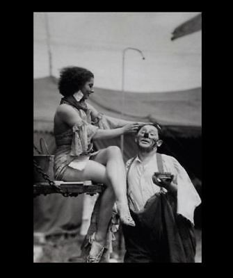 Vintage Hot Girl Creepy Clown PHOTO Sexy Legs Freak Circus Act Scary Man Weird