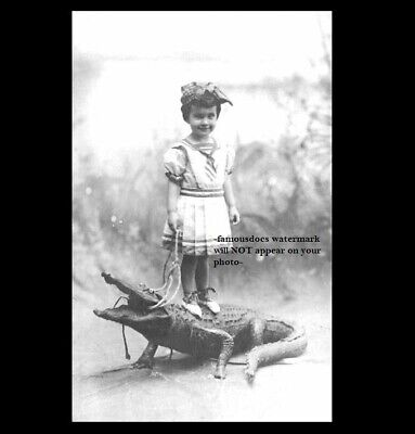 Vintage Alligator Girl Leash PHOTO Freak Scary Creepy Weird Odd Circus Act