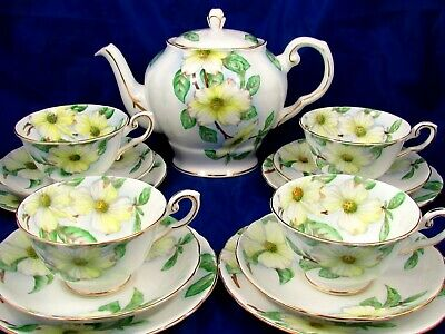 Tuscan Dogwood Hand Painted Large Floral Teapot Tea Cups Saucers Trios