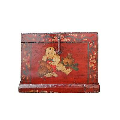 Chinese Vintage Red Kids Theme Trunk Box Chest cs4906