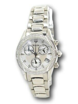 Bulova Women's Diamond Dial 96R134 Stainless Mother of Pearl Chronograph Watch