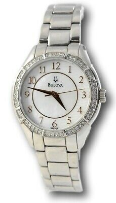 Bulova 96L146 Women's Rose Gold Mother of Pearl Stainless Crystal Watch