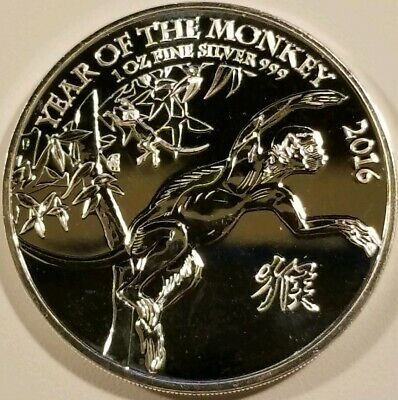 2016 Great Britain Year of the Monkey .999 Fine Silver Bullion BU