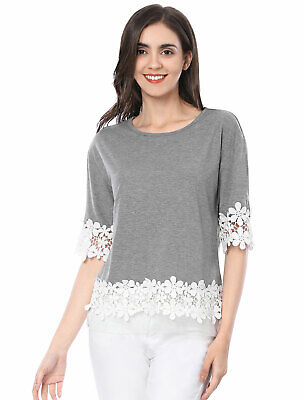 edec02bb8424c9 LADIES HALF SLEEVE Drop Shoulder Lace Trim T Shirt - EUR 12,63 ...