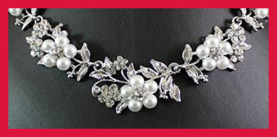 Floral Faux Pearl Clear WHITE Austrian Rhinestone Crystal Bib Statement Necklace