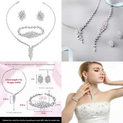 UMODE Bridal Wedding Jewelry Set Marquise Cut Cubic Zirconia Necklace Earring &