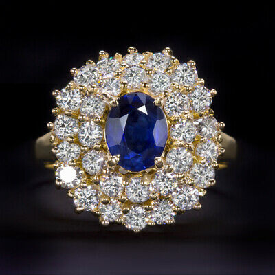 1.65ctw OVAL SAPPHIRE G-H VS 0.9ct DIAMOND 18K GOLD BALLERINA RING COCKTAIL BLUE