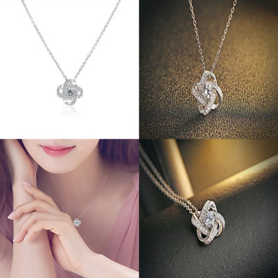Forever Love Knot Necklace Stud Earrings Elegant Chain CZ Ear Jewelry Set For Wo