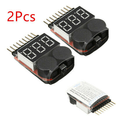 2X 1-8S 2in1 Lipo Battery Checker Low Voltage Meter Tester Buzzer Monitor Alarm