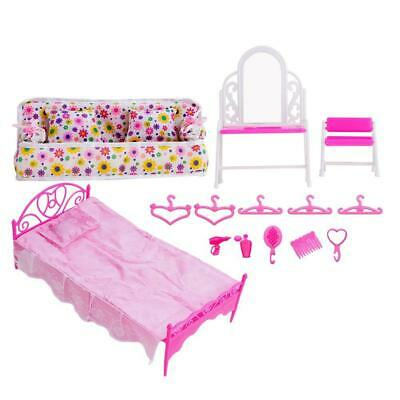 Fashion Pink Bed Dressing Table & Chair Set For Dolls Bedroom Furniture