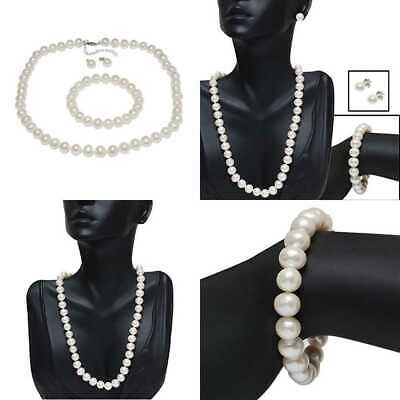 Gem Stone King 925 STERLING SILVER Cultured Freshwater WHITE Pearl Necklace Earr