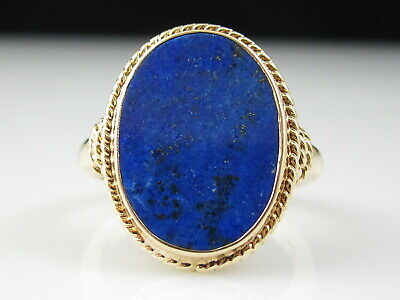 Lapis Lazuli Ring 14K Yellow Gold Estate Rope Oval Cabochon Fine Jewelry Size 6