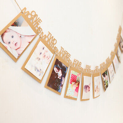 2pcs Birthday Record 1-12 Month Baby Photo Bunting Banner Party Decor Gift P4A3W