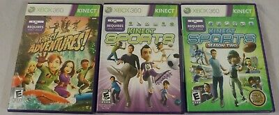 Lot of 3 Xbox 360 Kinect Games: Kinect Sports 1&2, & Kinect Adventures w/Manuals