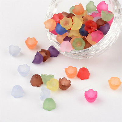 100 Pcs Mixed Frosted Acrylic Flower Bead Caps Jewelry Making 10x6mm Hole1.5mm