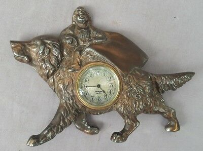 Novelty Clock, Circus Boy Riding Dog, Copper Plated Cast Iron, Westclox movement