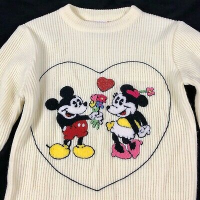 Vintage American Characters Walt Disney Mickey Minnie Mouse Sweater Girls Large