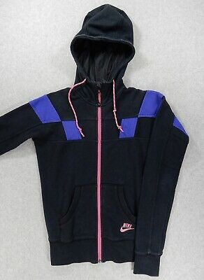 2fc0dd0d7292 Nike Sportswear 1990s Full Zip Athletic Hoodie Jacket (Womens Small 4-6)  Black