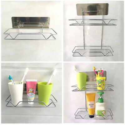 Stainless Steel Suction Kitchen Shower Storage Shelf Rack Holder Organizer GIFT