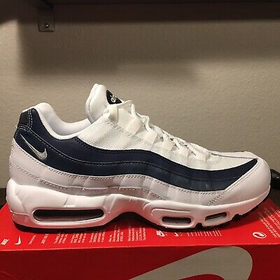 hot sale online d4095 5a3cf NIKE AIR MAX 95 ESSENTIAL White Midnight Navy Monsoon 749766 114 Size Men 11