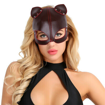 Unisex PU Leather Half Eyes Mask Fox Face with Ears Blindfold Eye Cover Flirting