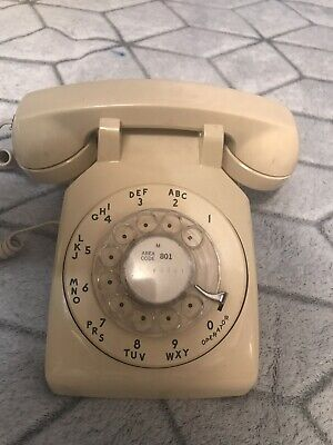 Vintage Phone Cream Rotary Dial Desk, In GoOd Working! Condition