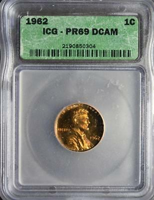 1962 PR69 DCAM RD Lincoln Cent Superb GEM+ Ultra Cameo PROOF Memorial Penny UCAM