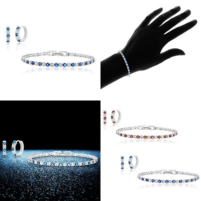 Lesa Michele Cubic Zirconia & Lab Created BLUE Sapphire Set In STERLING SILVER