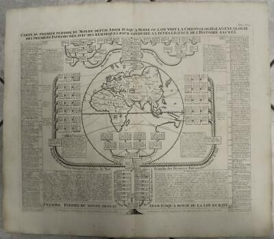 Old World 1720 Chatelain Antique Original Copper Engraved Hemispheric World Map