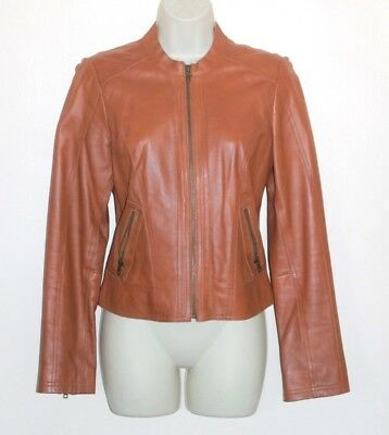 21d6d8d1289 LEATHER JACKET Brown ~ HALOGEN (Nordstrom) ~ Size SMALL ~ Genuine Leather